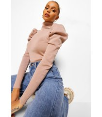 puff sleeve rib knit roll neck sweater, stone