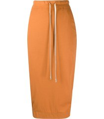 rick owens drkshdw drawstring jersey skirt - orange