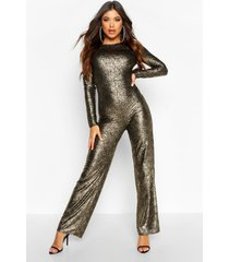 long sleeve backless jumpsuit, gold