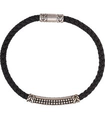 john hardy silver classic chain woven leather bracelet with jawan