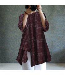 zanzea para mujer cuello redondo de manga larga a cuadros compruebe dobladillo irregular de algodón de lino tapas flojas blusa de la camisa -rojo