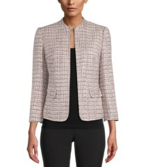 anne klein textured open-front blazer