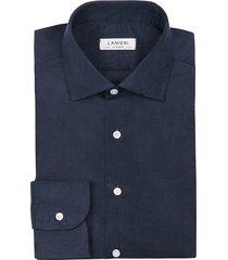 camicia da uomo su misura, canclini, velluto millerighe blu 100% cotone, autunno inverno   lanieri