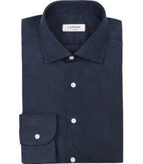 camicia da uomo su misura, canclini, velluto millerighe blu 100% cotone, autunno inverno | lanieri
