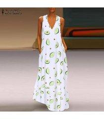 zanzea para mujer de la playa del verano floral del vestido de fiesta largo holiday club vestidos maxi -blanco