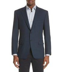 men's big & tall canali classic fit wool blazer, size 52 us / 62 eu regular - blue