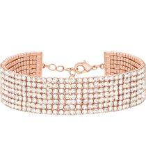 bracciale multifilo largo in metallo rosato con strass per donna