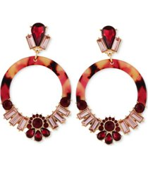 guess gold-tone crystal & burgundy stone tortoise-look circle drop earrings