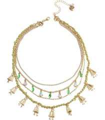 betsey johnson lily flower layered necklace set