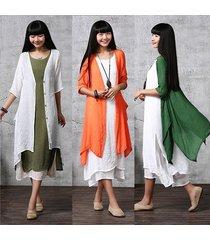 new women's bluse hauts boho rayon linen loose buttons coat cardigan irregular k