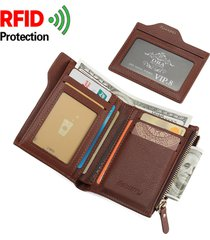 rfid uomo portafoglio antimagnetico in pelle pu con 6 card slots e portamonete