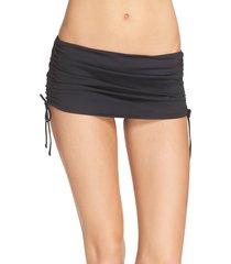 women's la blanca skirted hipster bikini bottoms, size 14 - black
