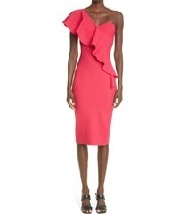 chiara boni la petite robe vasilina one-shoulder ruffle dress, size 8 us in cherry at nordstrom