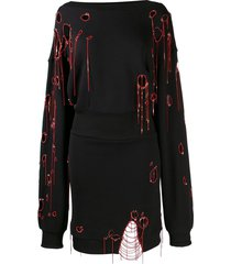 faith connexion distressed sweatshirt dress - black