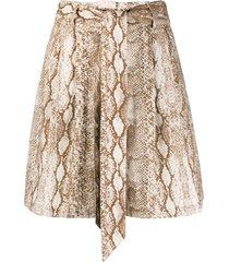 andamane snakeprint wide-leg shorts - neutrals