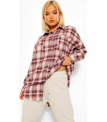 petite geruite oversized blouse, burgundy