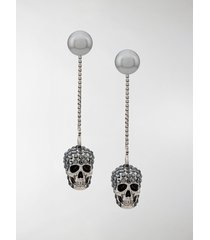 alexander mcqueen skull embellished drop earrings