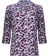 blusa estampada floral color vino, talla s