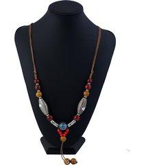 collana di perline in ceramica etniche fatte a mano vintage regolabili lunghe per le donne