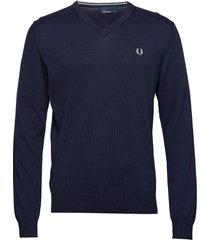 classic cott. v/n jmpr stickad tröja v-krage blå fred perry