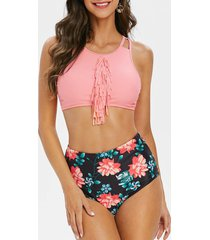 fringed floral print padded tankini swimsuit