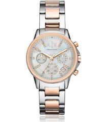 armani exchange designer women's watches, lady banks two tone chronograph women's watch