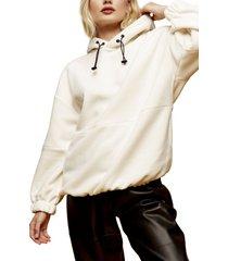 women's topshop oversize fleece hoodie, size small - ivory