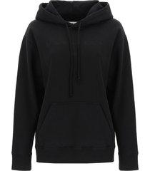 mm6 maison margiela logo embroidery hoodie