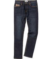 jeans elasticizzati con dettagli in similpelle slim fit straight (blu) - john baner jeanswear