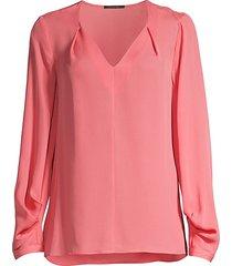 kobi halperin women's marissa v-neck silk blouse - peach - size xs