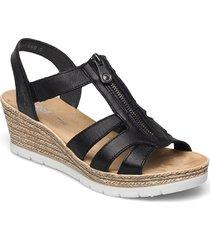 619c1-00 sandalette med klack espadrilles svart rieker