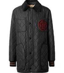 burberry varsity quilted barn jacket - black