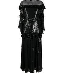 temperley london sylvan tiered sequin chiffon midi dress - black
