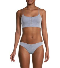 onia women's veronica striped bikini top - navy white - size s
