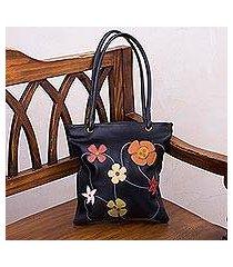leather handbag, 'night flowers' (peru)