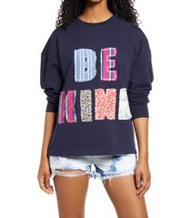 bp. oversize crewneck sweatshirt, size large in navy blazer be kind at nordstrom