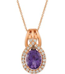 "le vian amethyst (2-1/2 ct. t.w.) & diamond (3/8 ct. t.w.) 20"" pendant necklace in 14k rose gold"