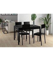 conjunto mesa tampo preto c/ 4 cadeiras vinil preto pozza - preto - dafiti