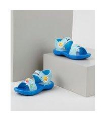 sandália papete infantil grendene baby shark estampado azul