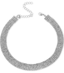 """inc silver-tone rhinestone wide choker necklace, 13"""" + 3"""" extender, created for macy's"""