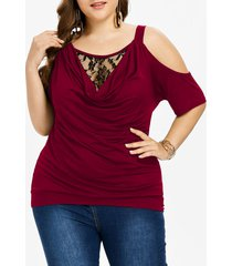 plus size cold shoulder cowl neck t-shirt