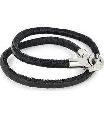 jean claude men's multi-wrap leather bracelet - black
