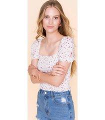 aleshia floral smocked blouse - white