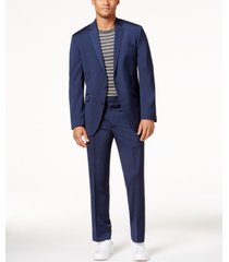 kenneth cole reaction men's big and tall slim-fit navy iridescent ready flex suit