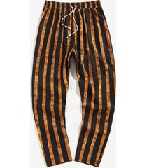 vertical striped drawstring pencil ankle pants