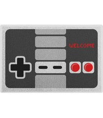 capacho em pvc gamer joystick retrô geek10 cinza