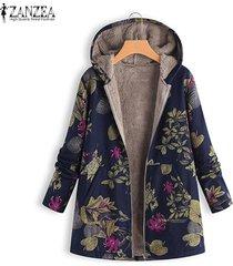 zanzea mujer de manga larga de lana casual sudaderas con capucha capucha abrigo outwear más el tamaño de la chaqueta de las mujeres -azul