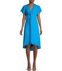 adrianna papell women's twist-front flutter-sleeve dress - blue - size 2