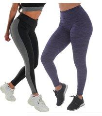 kit 2 leggings risca e bicolor click mais bonita