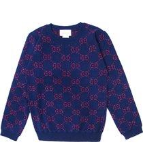 gucci jacquard knit sweater gg